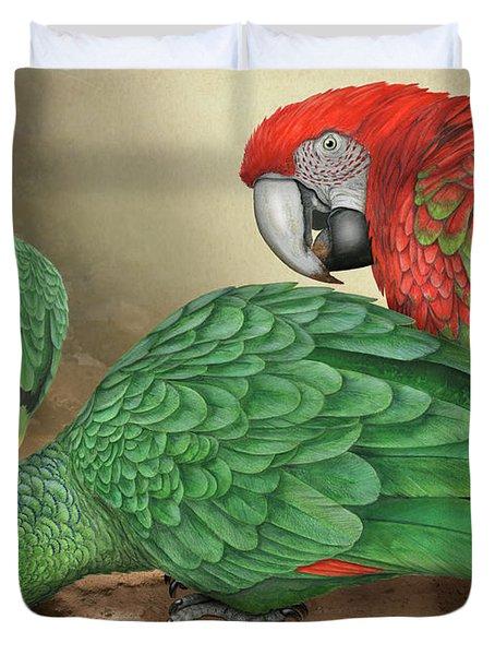 Mealy Amazon Parrot-amazona Farinosa-harinosa Surena-green-winged Macaw-ara Chloroptera-guacamayo Duvet Cover