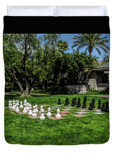 Duvet Cover featuring the photograph Fine Wine Cafe Chess At The Biltmore by Aimee L Maher Photography and Art Visit ALMGallerydotcom