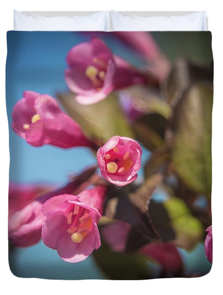 Duvet Cover featuring the photograph Fine Wine Weigela by William Lee