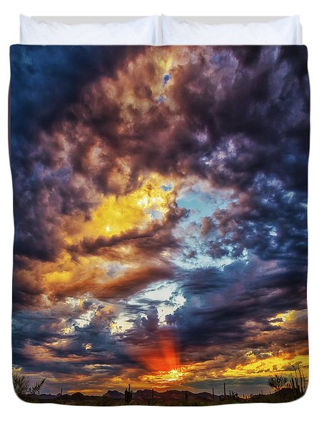Finger Painted Sunset Duvet Cover