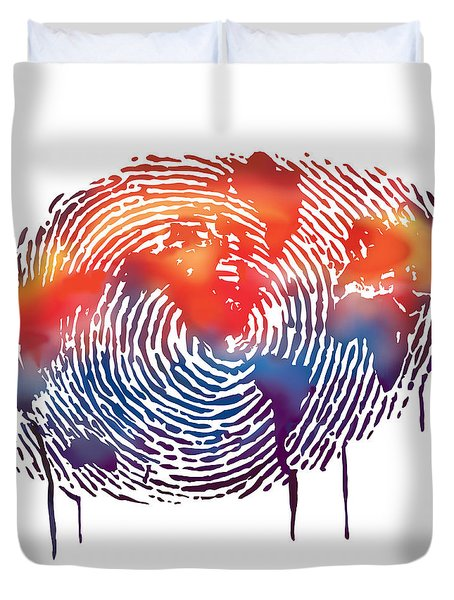 Finger Print Map Of The World Duvet Cover