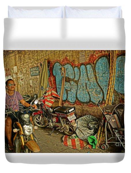 Fink Color Graffiti Duvet Cover by Arik S Mintorogo