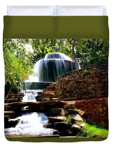 Duvet Cover featuring the photograph Finlay Park Columbia Sc Summertime by Lisa Wooten
