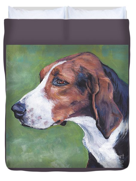 Duvet Cover featuring the painting Finnish Hound by Lee Ann Shepard