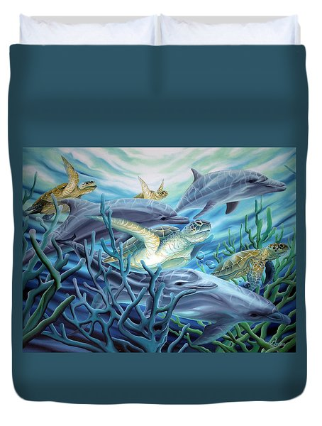 Fins And Flippers Duvet Cover