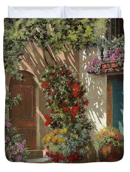 Fiori In Cortile Duvet Cover by Guido Borelli