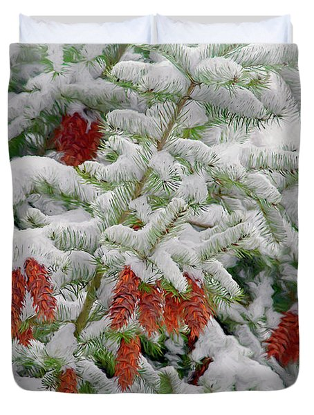 Duvet Cover featuring the photograph Fir Cones On White Photo Art by Sharon Talson