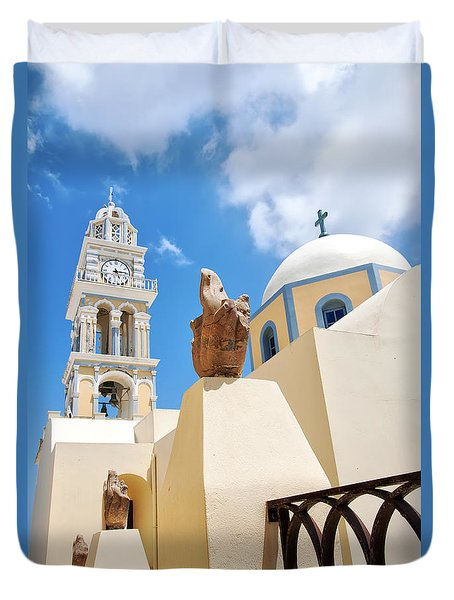 Fira Catholic Cathedral On Santorini Duvet Cover