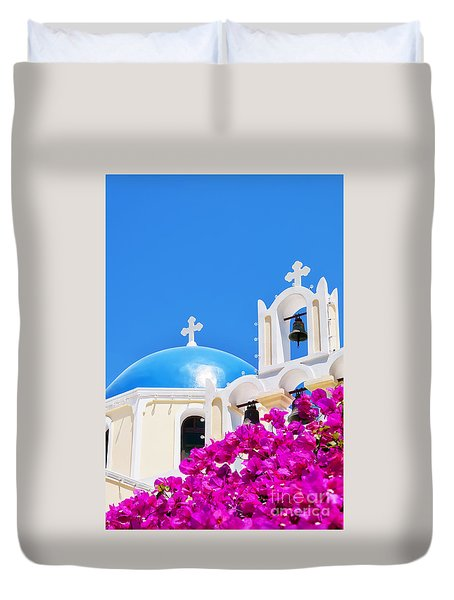 Fira Church Pink Flowers Duvet Cover