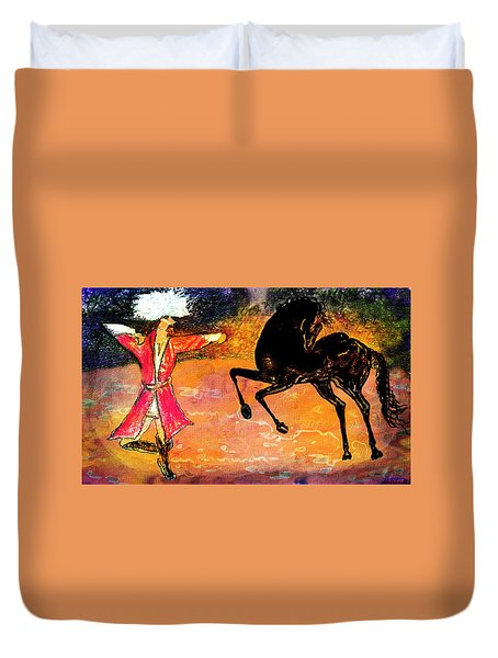 Duvet Cover featuring the painting Firat And Shishan Dance I by Anastasia Savage Ealy