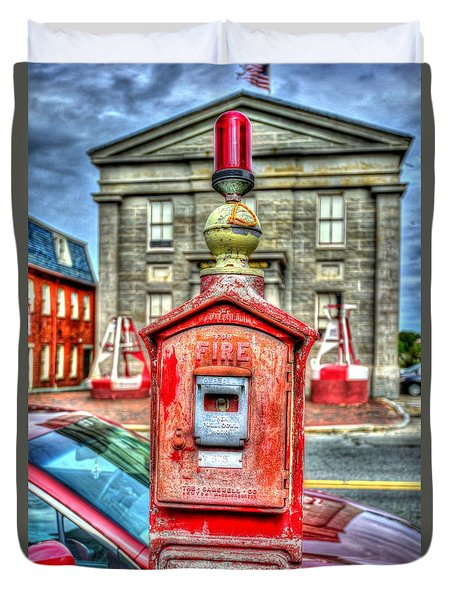 Fire Alarm Box 375 In Painterly Duvet Cover