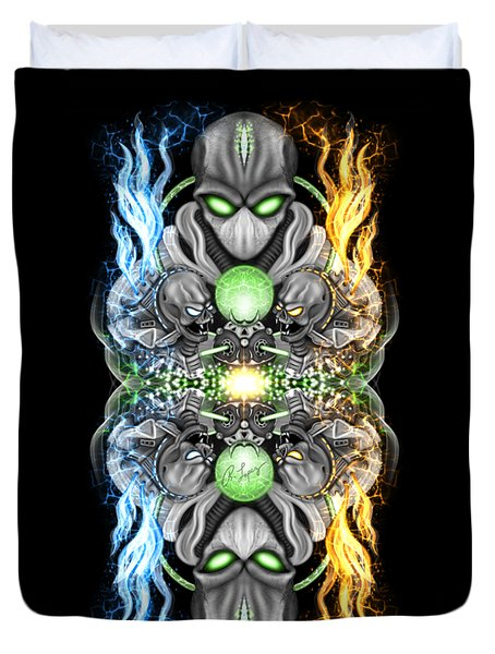 Fire And Ice Alien Time Machine Duvet Cover