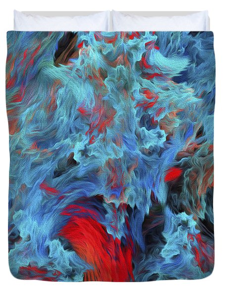 Duvet Cover featuring the digital art Fire And Water Abstract by Andee Design