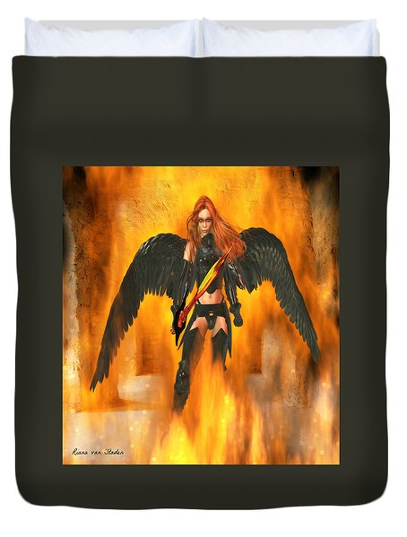 Duvet Cover featuring the digital art Fire Angel  by Riana Van Staden