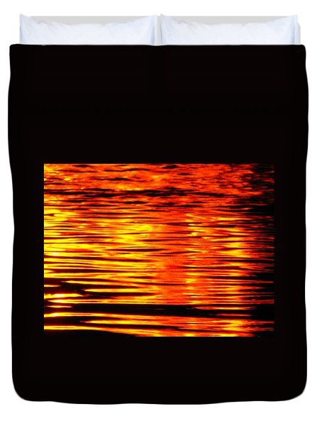 Fire At Night On The Water Duvet Cover