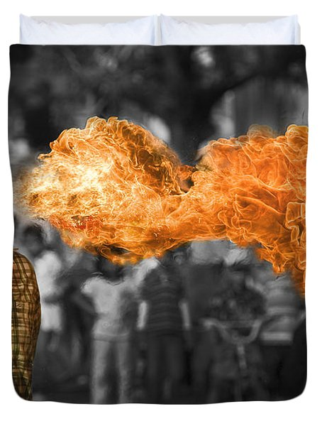 Fire Ball Show  Duvet Cover