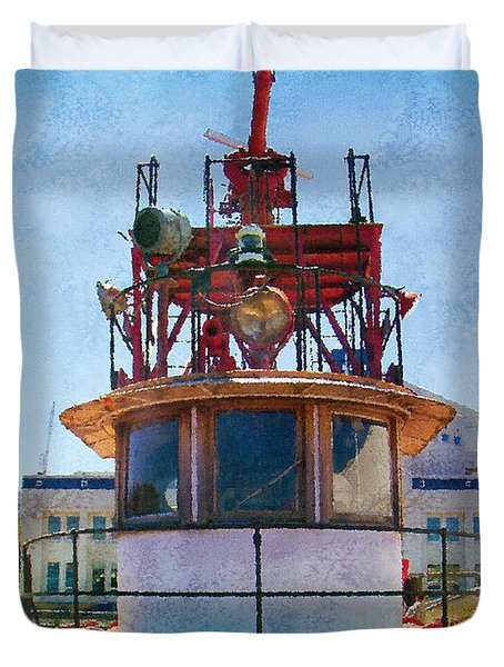 Fire Boat Duvet Cover by Kenneth De Tore