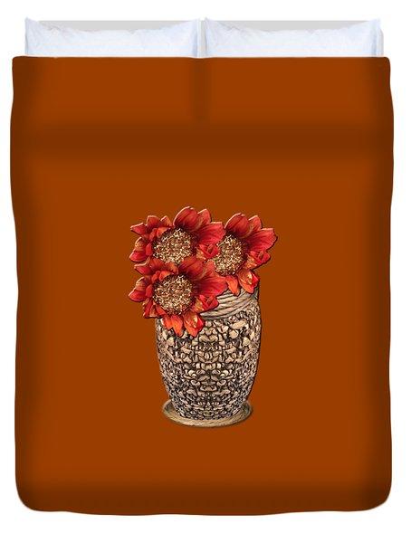 Fire Brick Flora Vase Duvet Cover
