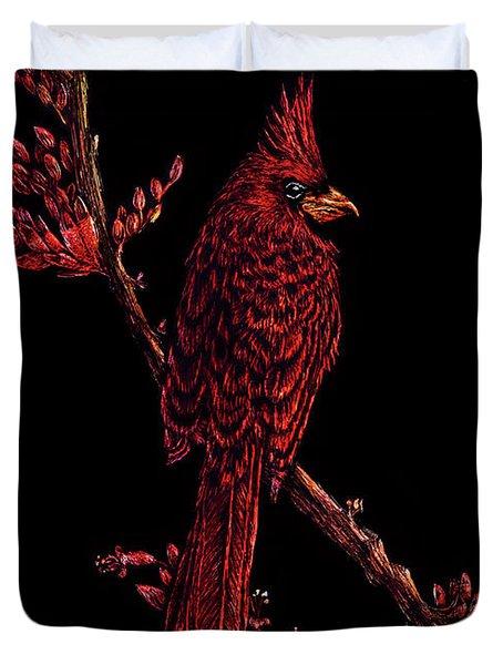 Fire Cardinal Duvet Cover