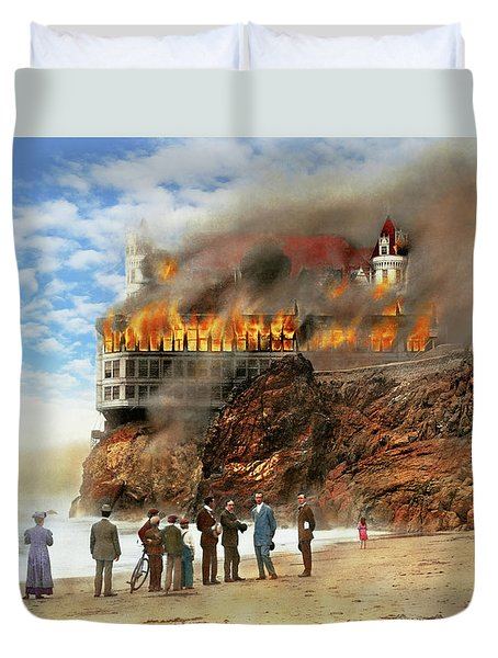 Duvet Cover featuring the photograph Fire - Cliffside Fire 1907 by Mike Savad