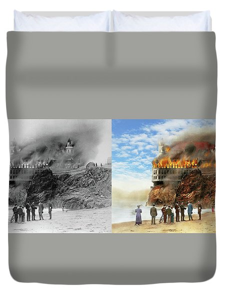 Duvet Cover featuring the photograph Fire - Cliffside Fire 1907 - Side By Side by Mike Savad