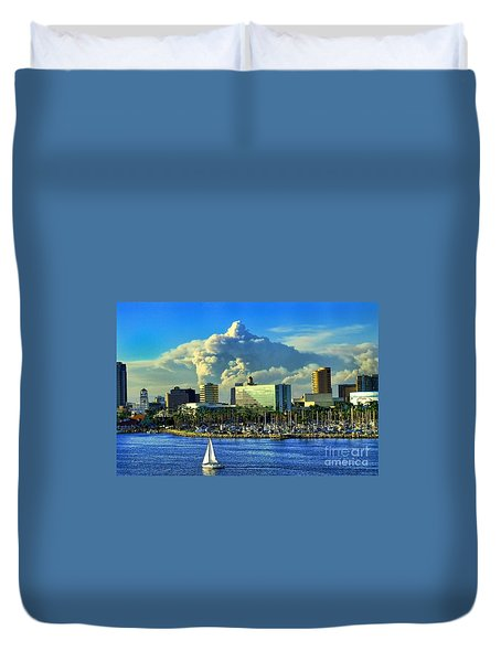 Duvet Cover featuring the photograph Fire Cloud Over Long Beach by Mariola Bitner