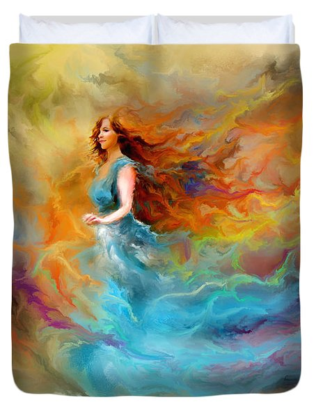 Duvet Cover featuring the digital art Fire Dancer by Patricia Lintner