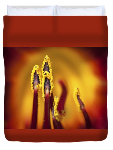 Duvet Cover featuring the digital art Fire Dancers by Christina Lihani