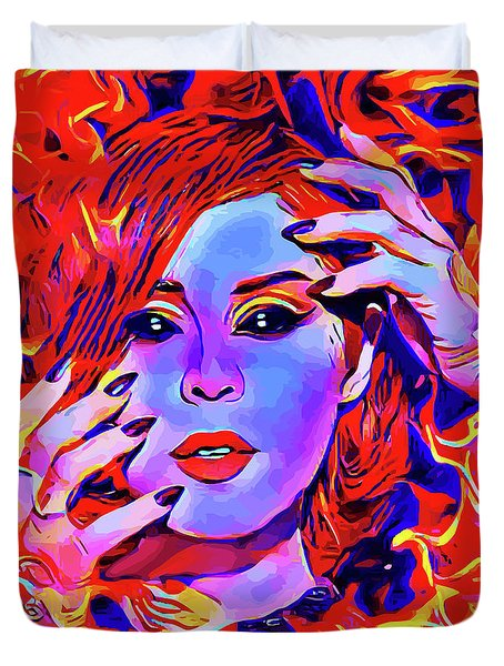 Fire Demon Woman Abstract Fantasy Dark Goth Art Duvet Cover