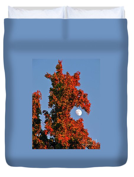 Fire Dragon Tree Eats Moon Duvet Cover by CML Brown