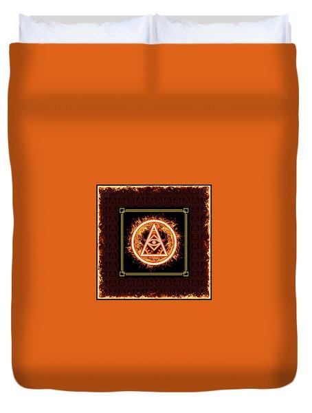 Duvet Cover featuring the digital art Fire Emblem Sigil by Shawn Dall