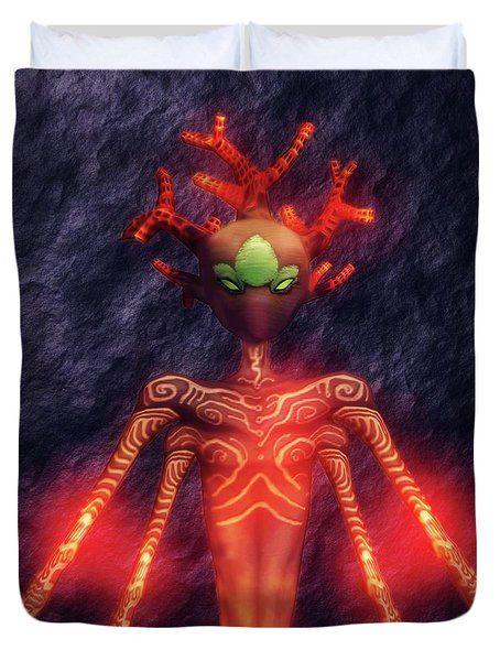 Fire God Of Hell By Sarah Kirk Duvet Cover