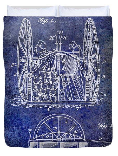 Fire Hose Cart Patent Blue Duvet Cover