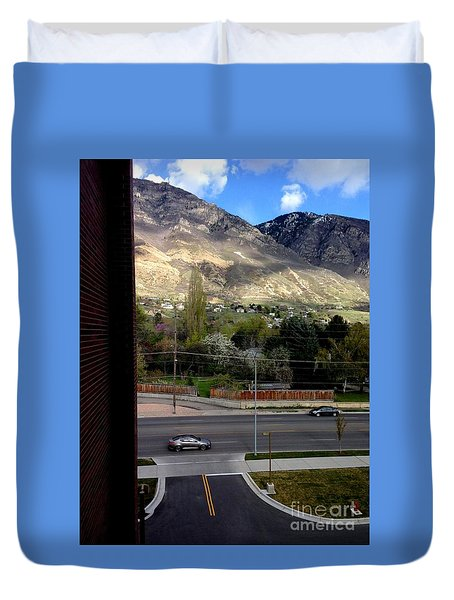 Fire Hydrant Guarding The Byu Y Duvet Cover