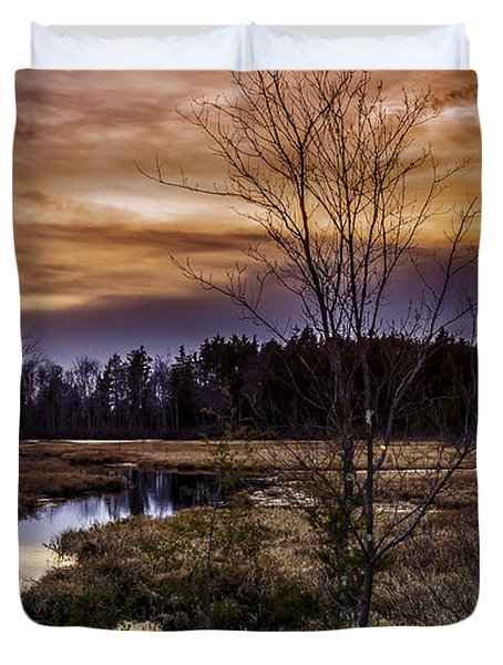 Fire In The Pine Lands Sky Duvet Cover