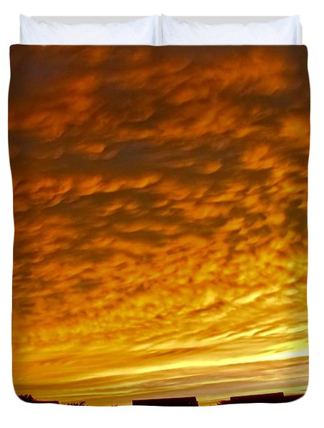 Duvet Cover featuring the photograph Fire In The Sky by Jennifer Wheatley Wolf