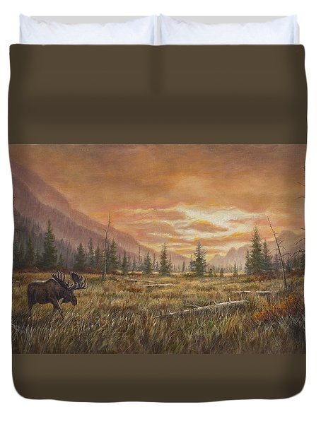Duvet Cover featuring the painting Fire In The Sky by Kim Lockman