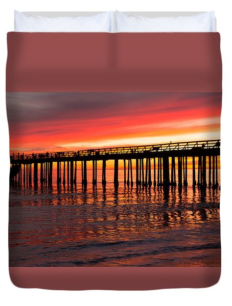 Duvet Cover featuring the photograph Fire In The Sky by Lora Lee Chapman