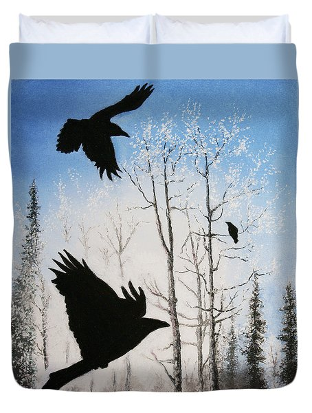Fire In The Sky Duvet Cover by Stanza Widen