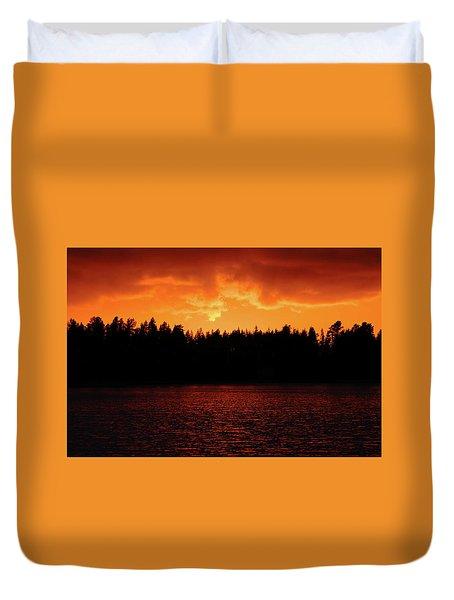 Fire In The Sky Duvet Cover by Teemu Tretjakov