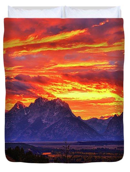 Fire In The Teton Sky Duvet Cover