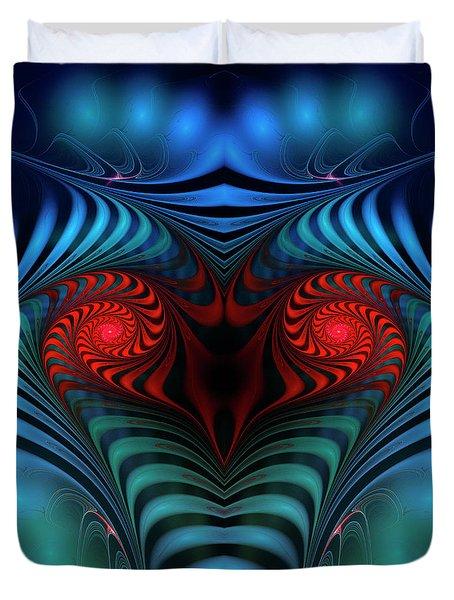 Duvet Cover featuring the digital art Fire Inside by Jutta Maria Pusl