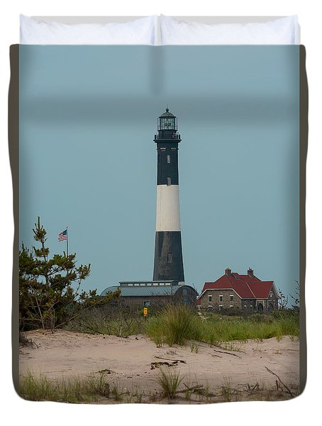 Duvet Cover featuring the photograph Fire Island Lighthouse by Jose Oquendo