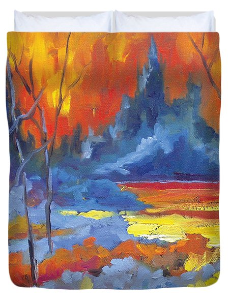 Fire Lake Duvet Cover by Richard T Pranke