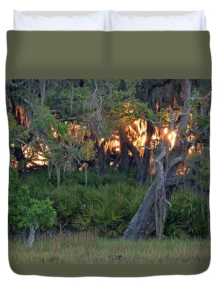 Duvet Cover featuring the photograph Fire Light Jekyll Island 02 by Bruce Gourley