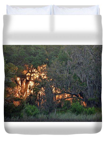 Duvet Cover featuring the photograph Fire Light Jekyll Island 03 by Bruce Gourley
