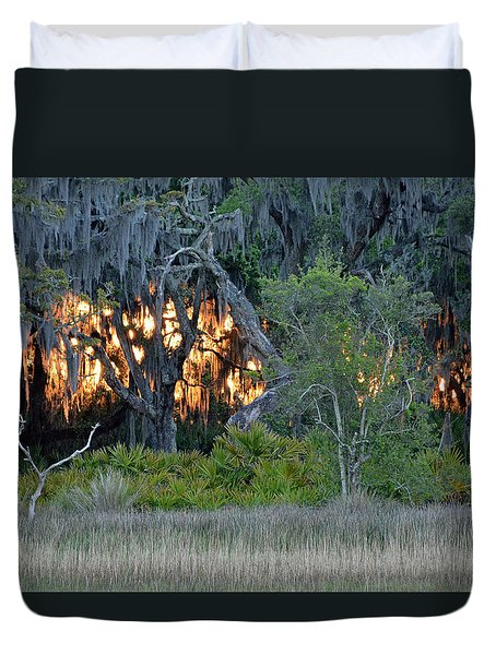 Duvet Cover featuring the photograph Fire Light Jekyll Island by Bruce Gourley