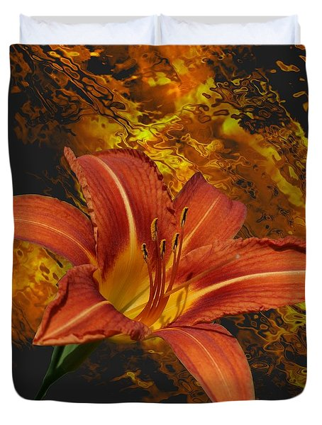 Duvet Cover featuring the photograph Fire Lilly by Rick Friedle