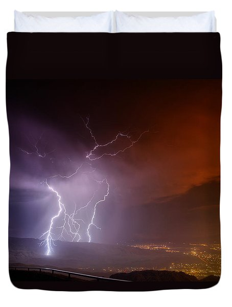 Duvet Cover featuring the photograph Fire On The Mountain by James Menzies