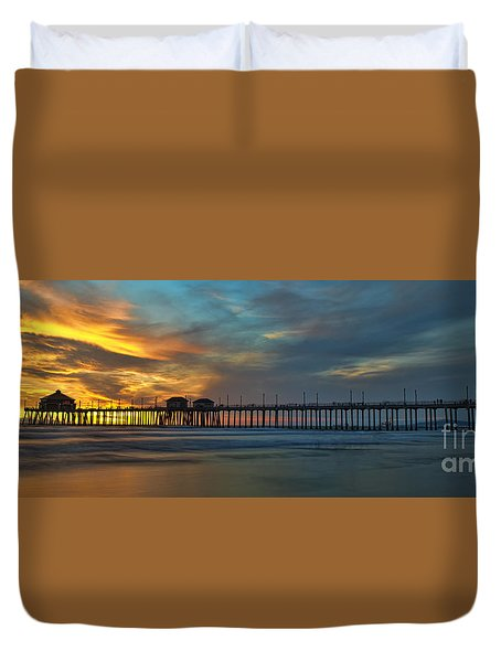 Fire On The Sky - Huntington Beach Pier Duvet Cover